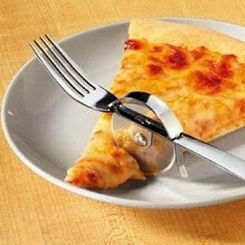 FENSIN Gabel mit Pizzaschneider Pizza-Roller Gabel Combo Einfache Rollschneider Cutting Pie Einfache Rollschneider Cutting Pie Zum Schneiden von Pizza-23x8x4cm -