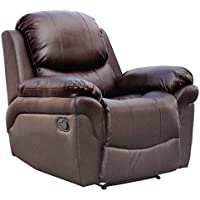 Madison Bonded Leather Recliner Armchair Sofa Home Lounge Chair Reclining Gaming (Brown)