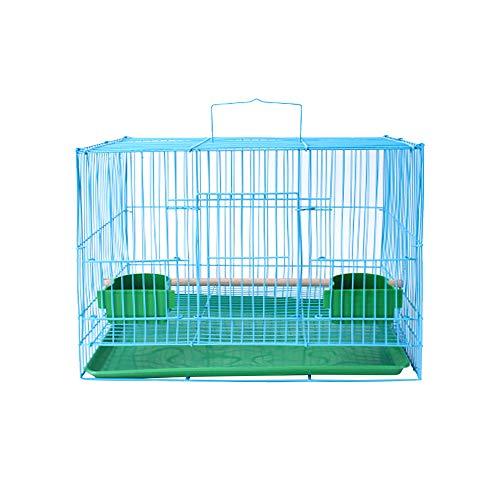 ZZZM Transportkäfig für Vögel, tragbar, Metall, für Papageien, Reisen, Vogelkäfig, Hundekäfig, mit Bodenschalen und Sitzstange, für Urlaub oder Wochenende blau