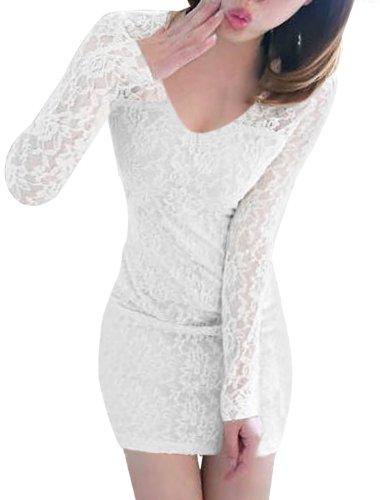 Allegra K Damen V Ausschnitt Spitze Langärmelig Abend Mantel Minikleid Weiß
