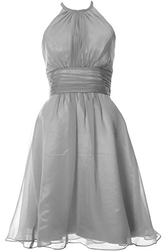 MACloth Women Halter Short Bridesmaid Dress Wedding Party Cocktail Formal Gown Silber