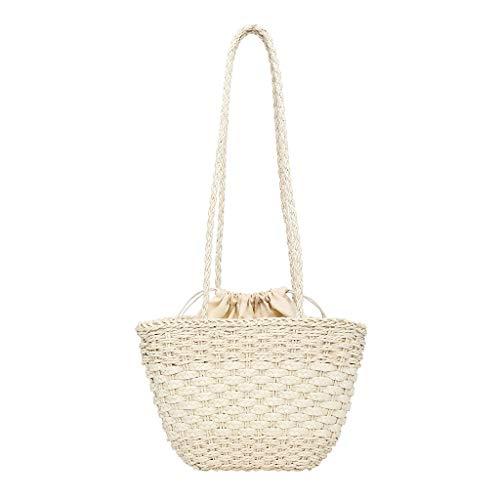 XZDCDJ Stroh Strand Sommer HandTaschen Tote Mode gewebt Tasche Volltonfarbe Umhängetasche Wild Casual Bucket Bag Weiß -