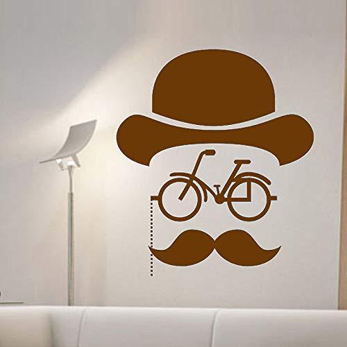 Ajcwhml Hipster Fahrrad wandaufkleber kreative bart Mann Wand Applique Dekoration Kunst Vinyl abnehmbare Aufkleber Wohnzimmer Dekoration 59 cm x 68 cm - Olive Arch