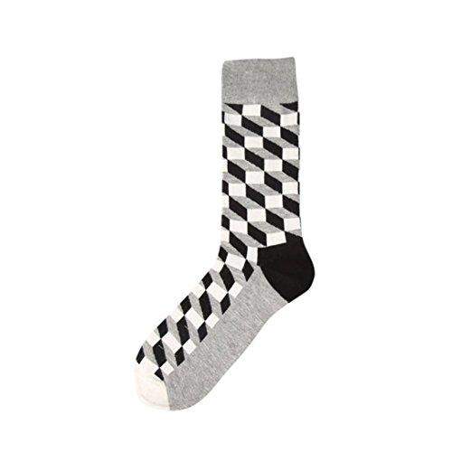 Herren Socken,Binggong New Fashion Man Plaid Farbblock Cotton Sock Bunter Diamant Casual Socke Atmungsaktiv Sock Mode Boot Socken (Etwa 40 cm, Mehrfarbig F)