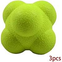 MUANI 3pcs TPR Hexagonal en Forma de Formación Bola Amarilla dificultad Alta Velocidad de reacción de sensibilidad Trainer