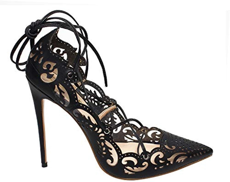Fuxitoggo Fuxitoggo Fuxitoggo Strappy Pumps donna Lace up Large Stiletto scarpe a punta (Coloreee   Nero, Dimensione   EU 41)   Primo gruppo di clienti  602366