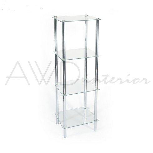 Hochwertiges Designer Badregal-Standregal-Allzweckregal- mit 4 Glasböden -verchromt Stahl-4...