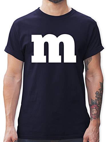 Karneval & Fasching - Gruppen-Kostüm m Aufdruck - L - Navy Blau - L190 - Herren T-Shirt und Männer Tshirt (M&m Kostüm Zubehör)