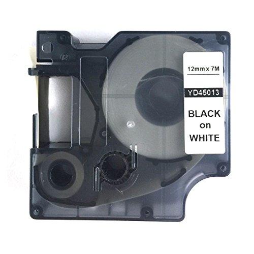 Label-Dymo Etikettenband, geeignet für DYMO D1 45013 S0720530, 7 m x 12 mm (0,5 Zoll x 23 ft), Schwarz auf Weiß
