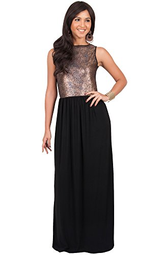 Koh Koh Plus Size Womens Long Sleeveless Cocktail Evening Bridal Party Sexy Wedding Guest Summer Elegant Bridesmaid Cute Date Sundresses Gown Gowns Maxi Dress Dresses, Gold and Black 2 X 18-20 (3)