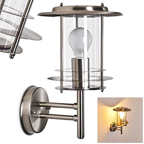 Außenwandleuchte Carena, moderne Wandlampe aus Metall u. Glas in Nickel-matt, Wandleuchte m. E27-Fassung, max. 60 Watt, Außenleuchte IP 44 für Terrasse u. Hof, geeignet für LED Leuchtmittel -
