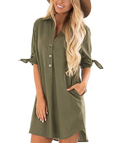 CNFIO Sommerkleid Damen Elegant Kleider V-Ausschnitt 1/18 Ärmel Einfarbig Shirt Design Kurz Blusenkleid Minikleid Strand Kleider B-Armee grün EU36-38 -