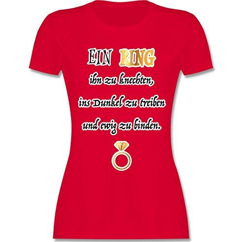 Shirtracer JGA Junggesellinnenabschied - ein Ring. JGA - Damen T-Shirt Rundhals Rot