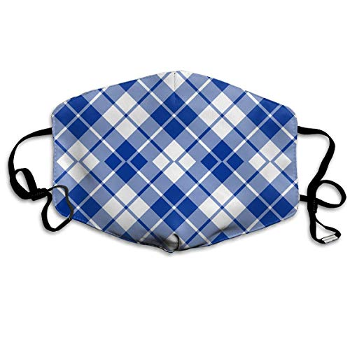 Masken,Masken für Erwachsene,Blue and White Diagonal Tartan Washable and Reusable Cleaning Mask,For Allergens,Exhaust Gas,Running,Cycling,Outdoor Activities
