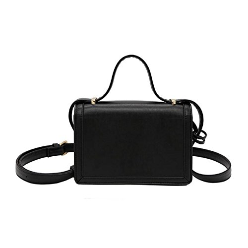 Borse In Pelle Spalla Diagonale Piccolo Quadrato Mini Pacchetto Donne Ragazze,Black Black
