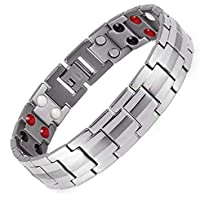 Magnetic Bracelets for Men Pain Relief Titanium Steel Double Row Strong Magnets Bracelet(Removal Tools Not Included)