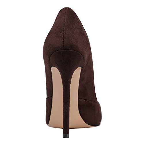 MERUMOTE , Chaussures à talon fin femme Marron - Dark Brown-suede