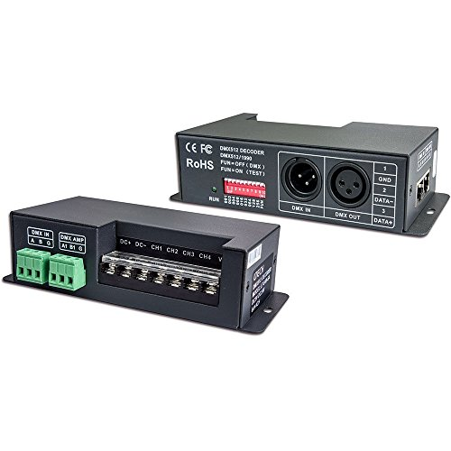 LTRGBW 4 canales x 6A DMX-PWM CV decodificador controlador de voltaje constante Convertido DMX512 controlador de señal digital a señal PWM Equipado con DMC Estándar