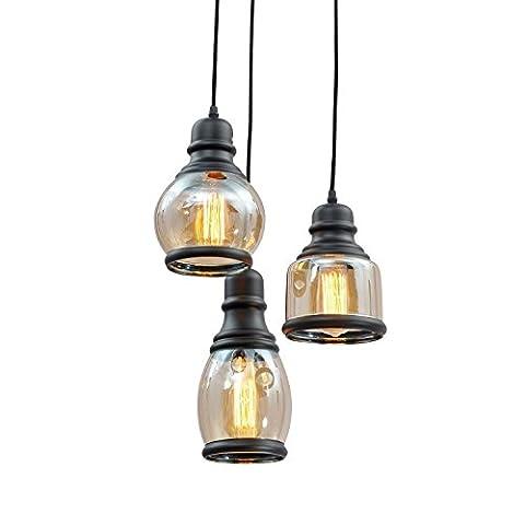 Industrie Fabrik Garage Stem Hung Pendelleuchte Antique Black Shade Glas Jar 3 Lichter Fixture mit Downlight Modern Vintage