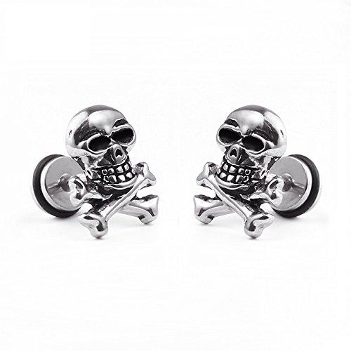 Un par de acero inoxidable clásico pendientes Calavera Cráneo...