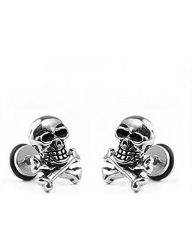 ein paar Edelstahl klassische Totenkopf Ohrstecker Schädel Skull Ohrringe , Punk Rock Stil Ohrhänger Ohrstecker...