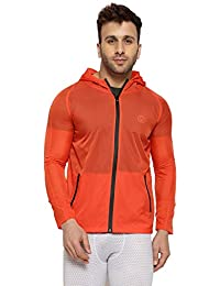 83c9710af49a6 CHKOKKO Waterproof Activewear Lightweight Hooded Solid Wind Cheater Zipper Sports  Jacket for Men