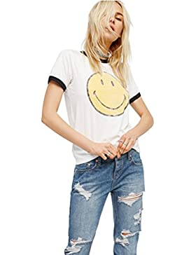 Germinate Camisetas Mujer Manga Corta Verano Tumblr Divertidas Emojis Casual Blancas Tops Tallas Grandes