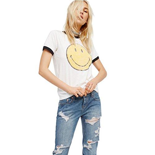 Sommer lässig T Shirt Damen mit aufdruck Emoji Tumblr Elegant Comic Weiß Kurzarm Bluse Tops (L, Weiß)
