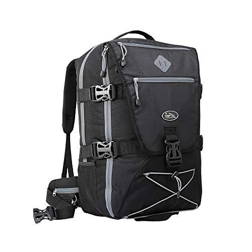 Cabin Max Equator Backpacker Rucksack. Flug Genehmigt Rucksack mit integriertem Regen Abdeckung Taille und Brustgurte 54x36x20cm (Schwarz/Grau)
