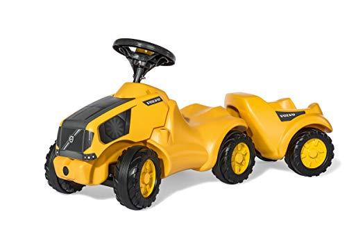 Rolly Toys rollyMinitrac Volvo mit Anhänger (für Kinder von 1,5-4 Jahre, Flüsterlaufreifen, Lauflernhilfe, Farbe gelb) 132560