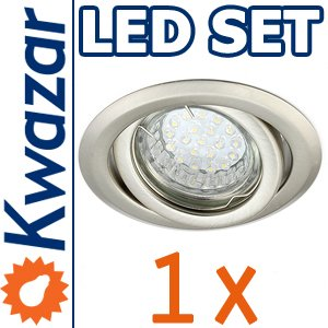 SUPER SET: K-19 Einbaustrahler + LED Lampe 20p /20W + GU10 Fassung 230V von Kwazar Leuchte
