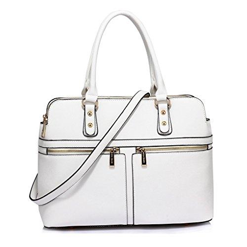 LeahWard® Damen Tragetaschen Berühmtheit Stil nett Handtaschen 3 Fächer Groß Tasche 250 (Weiß/Cream) (Chloe Handtasche Weiß)