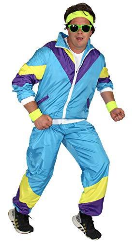 Foxxeo 80er Jahre Kostüm für Herren - türkis gelb lila - Trainingsanzug Fasching Karneval Motto-Party, Größe:XL (80er Jahre Motto Party Kostüm)