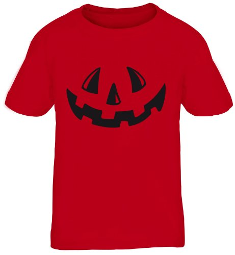 Rotes Halloween Kostüme T Shirt (Shirtstreet24, Halloween - Kürbis Gesicht,Pumpkin Kostüm Kids Kinder Fun T-Shirt Funshirt, Größe:)
