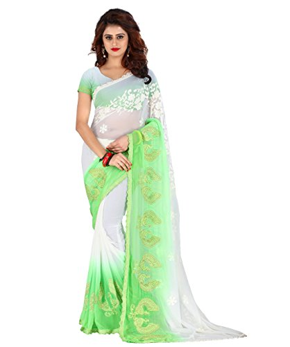 Being Banarasi Chiffon Saree With Blouse Piece (1253_A_Green_Free Size)