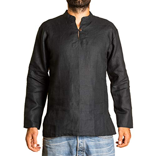 PANASIAM Shirt, 100% Hemp, Black, XXL, LS -