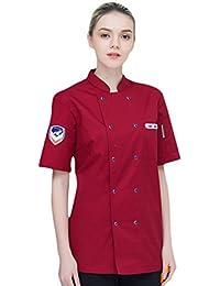 Dooxii Unisex Donna Uomo Mode Estate Manica Corta Giacca da Chef  Professionale Ristorante Occidentale Cucina Mensa Uniformi Divise da… 01a53d131470