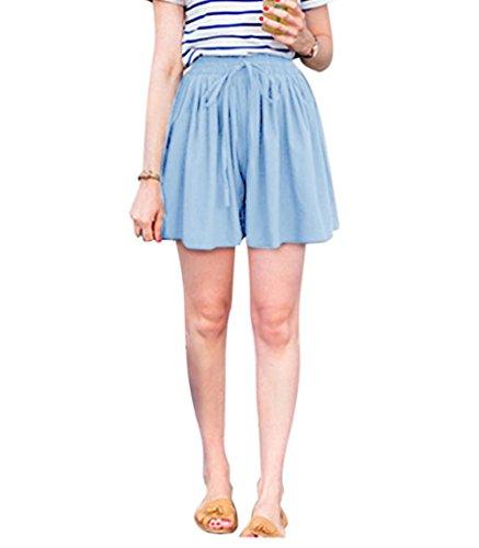 Aswinfon Kurze Hose Damen Sommer High Waist Locker Short Stoff Hosenrock Kurz  Hot Pants (Blau, XL) 3aea9e7772