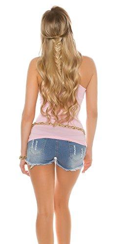 KouCla Tanktop mit V.I.P. Goldprint - Damen Top Shirt mit Print Farbauswahl 34-38 Rosa