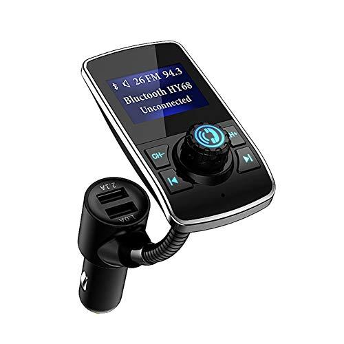 Aigoss Transmisor FM Bluetooth Coche, Manos Libres Bluetooth 3,0 Reproductor Adaptador de Radio, Dual USB Carga rápida 5V 1.0A / 2.1A, Pantalla de 1.44 Pulgadas, Soporte de Tarjeta TF y 3.5mm AUX