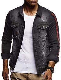 LEIF NELSON Herren Jeansjacke Basic Stretch Jeans Jacke mit Stehkragen  Übergangsjacke Hoodie… c1a4b94901