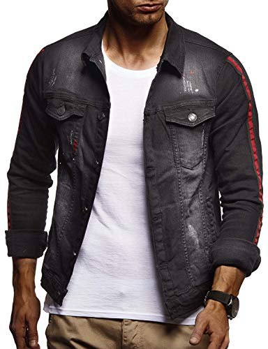 eansjacke mit Knopf | Freizeitjacke Slim Fit | Das Beste in Kleidung Männer LN9535; L, Schwarz ()