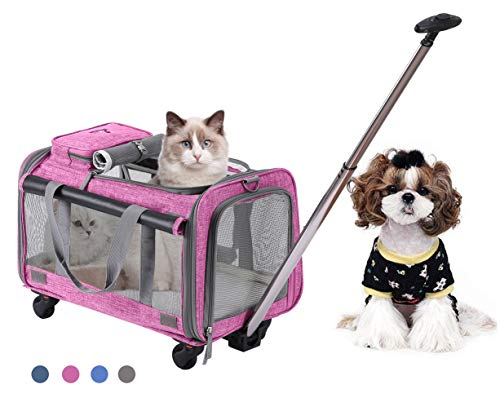 Trasportín plegable con ruedas para mascotas con cómodo forro polar para viajes,...