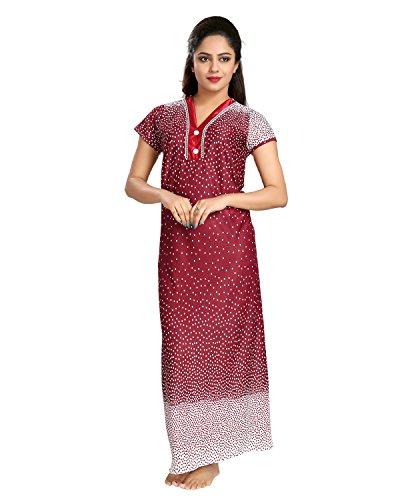 96ed04f5088 Tucute Women s Night Gown   Nightwear   Nighty   Nightdress With Border  Dott s Print (Free