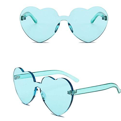 YUHANGH Liebe Herzform Sonnenbrille Frauen Randlose Rahmen Tint Klare Linse Bunte Sonnenbrille Rot Rosa Gelb Shades Reise Zubehör