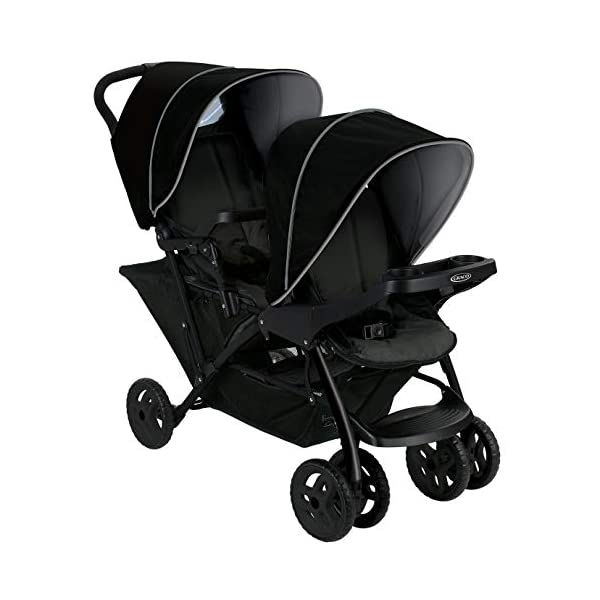Graco Stadium Duo Click Connect Tandem Pushchair, Black/Grey Graco Compatible with all graco click connect car seats, which can be easily added to the tandem chassis with just one click. Folded-Length:66cm, Height: 109cm Convenient one-hand standing fold, featuring an automatic storage latch that folds effortlessly. Maximum weight capacity is 15 Kg. Stadium-style seating positions with slightly higher rear seat, so that both children can see the world around them 10
