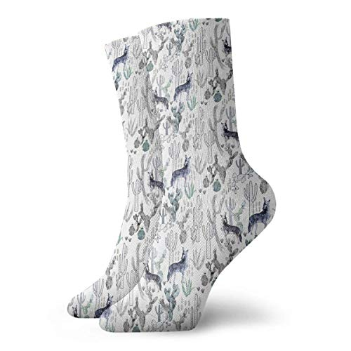 dfegyfr Coyote Cacti Classic Crew Socks Flat Knit Casual Athletic Stoking 30CM Lightweight