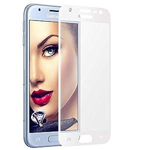 """mtb more energy® Gewölbtes 3D Schutzglas für Samsung Galaxy J3 2017 (SM-J330, 5.0"""") – weiß – 9H – 2.5D – Curved Full Display Glasfolie"""