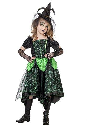 Jannes - Hexenkostüm Kinder, Schwarz Grün ohne Hut 164