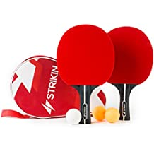 Tischtennis-Set von Strikin Sports | 2 Allround Tischtennisschläger | Doppelschläger-Hülle | 3x3 Stern Bälle | Langlebige Beläge | Ergonomische Griffschalen | Garantie
